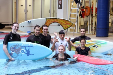 blackrock surf school students during a lesson in a swimming pool