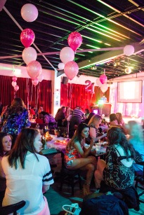 Party room decorated in pink balloons