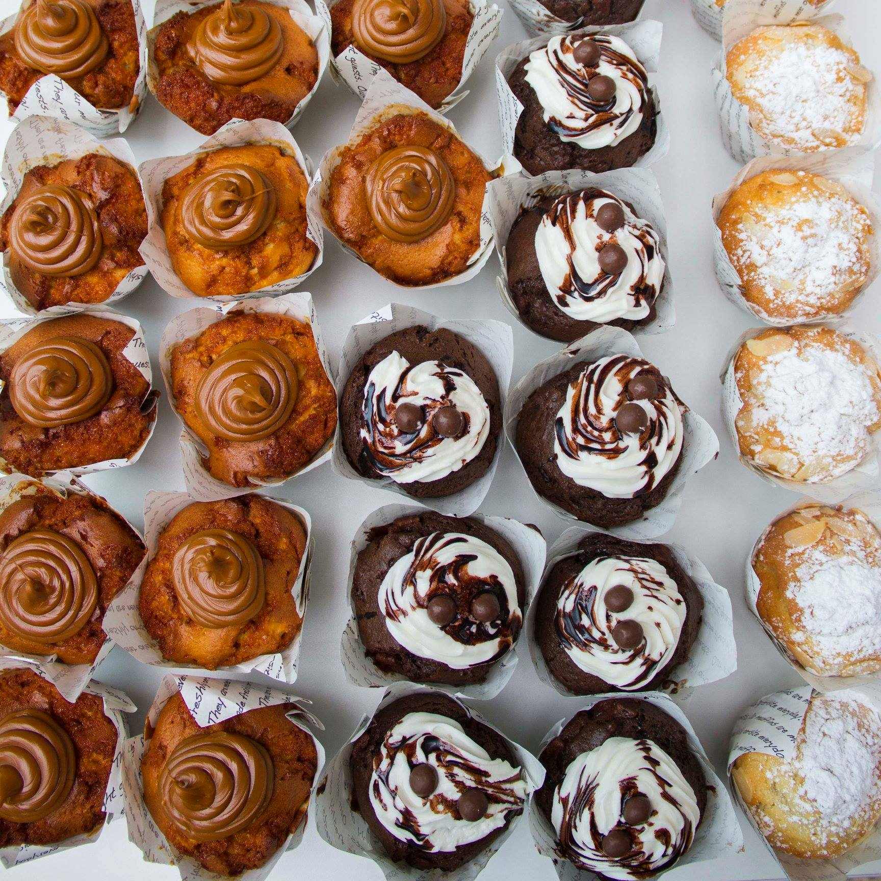 BB's caramel chocolate and lemon muffins lined up