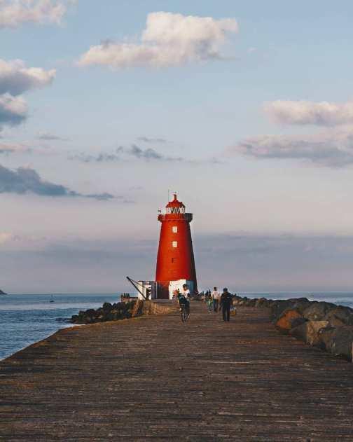 Poolbeg lighthouse in Dublin, Ireland