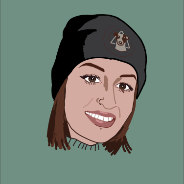 illustration of a woman wearing a beanie